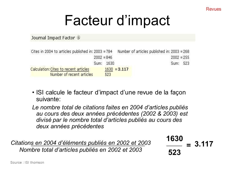 Facteur dimpact ISI calcule le facteur dimpact dune revue de la façon suivante: Le nombre total de citations faites en 2004 darticles publiés au cours