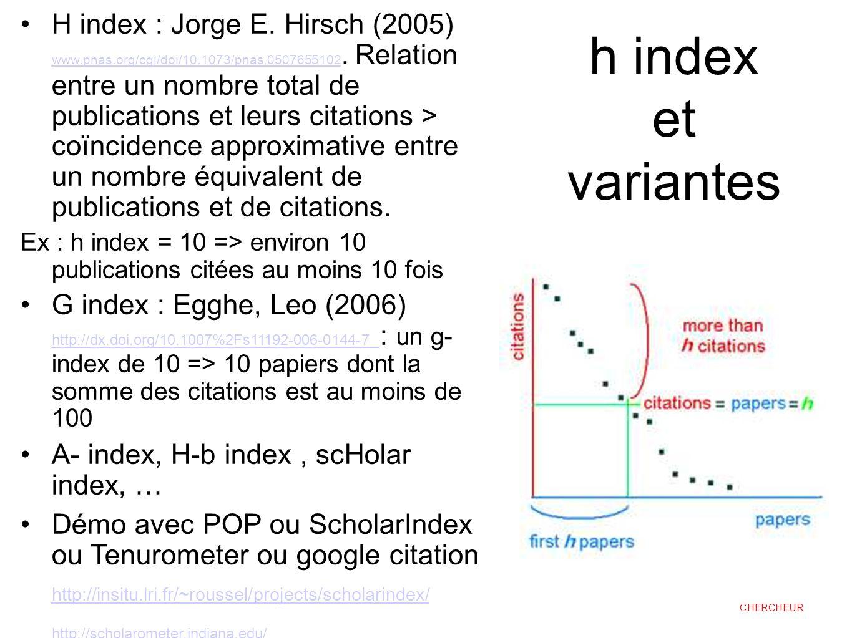 h index et variantes H index : Jorge E. Hirsch (2005) www.pnas.org/cgi/doi/10.1073/pnas.0507655102. Relation entre un nombre total de publications et