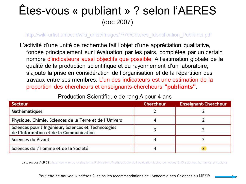 Êtes-vous « publiant » ? selon lAERES (doc 2007) http://wiki-urfist.unice.fr/wiki_urfist/images/7/7d/Criteres_Identification_Publiants.pdf Lactivité d