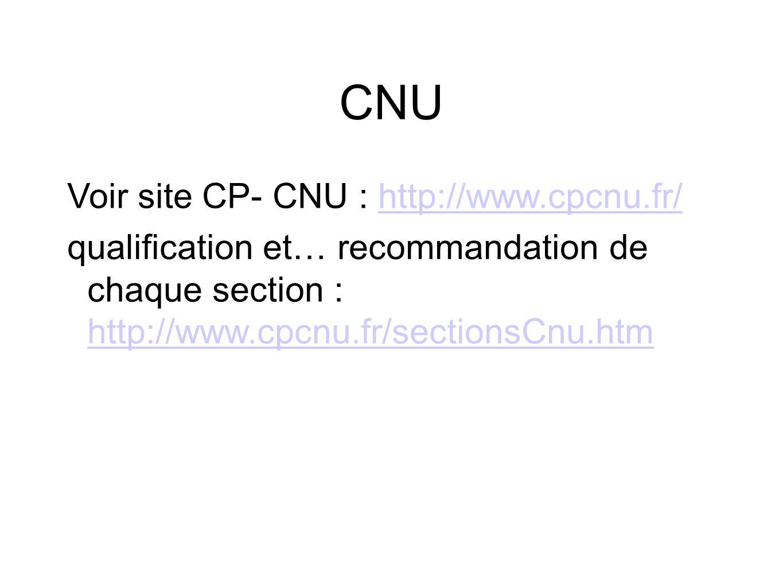 CNU Voir site CP- CNU : http://www.cpcnu.fr/http://www.cpcnu.fr/ qualification et… recommandation de chaque section : http://www.cpcnu.fr/sectionsCnu.