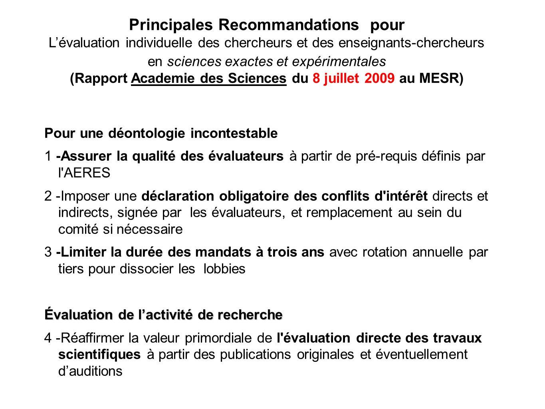 Principales Recommandations pour Lévaluation individuelle des chercheurs et des enseignants-chercheurs en sciences exactes et expérimentales (Rapport