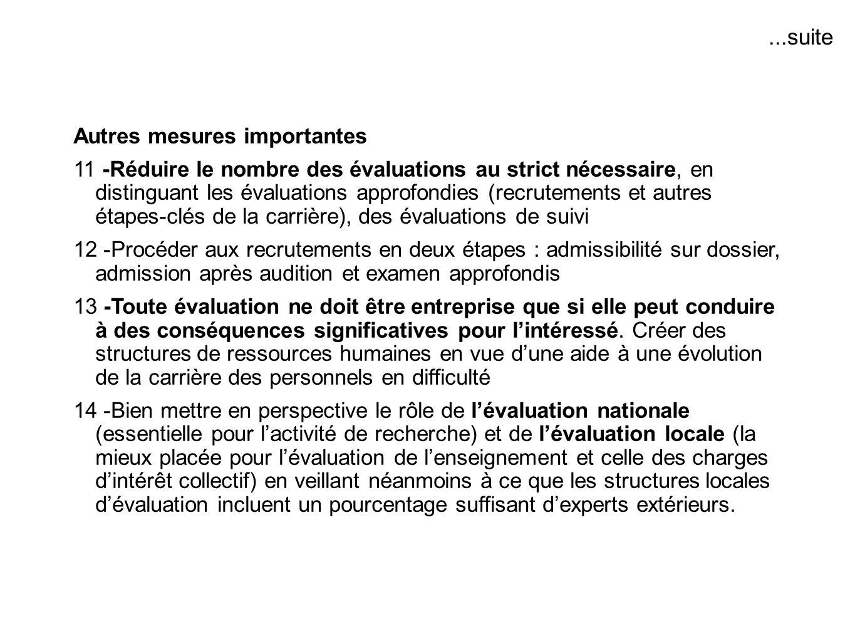 Autres mesures importantes 11 -Réduire le nombre des évaluations au strict nécessaire, en distinguant les évaluations approfondies (recrutements et au