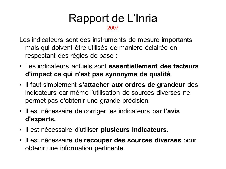 Rapport de LInria 2007 Les indicateurs sont des instruments de mesure importants mais qui doivent être utilisés de manière éclairée en respectant des