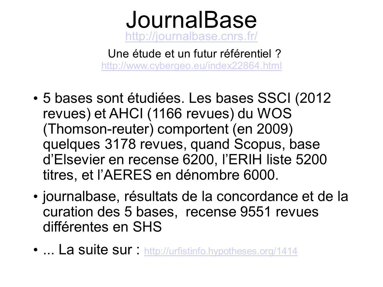 JournalBase http://journalbase.cnrs.fr/ http://journalbase.cnrs.fr/ Une étude et un futur référentiel ? http://www.cybergeo.eu/index22864.html http://