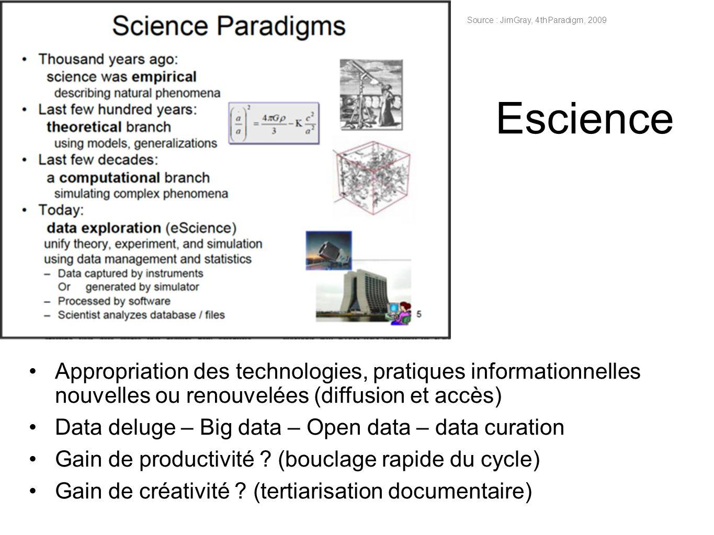 Escience Appropriation des technologies, pratiques informationnelles nouvelles ou renouvelées (diffusion et accès) Data deluge – Big data – Open data