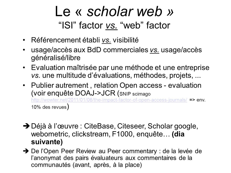 Le « scholar web » ISI factor vs. web factor Référencement établi vs. visibilité usage/accès aux BdD commerciales vs. usage/accès généralisé/libre Eva