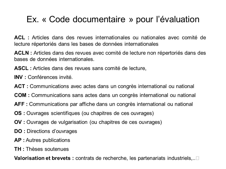 Ex. « Code documentaire » pour lévaluation ACL : Articles dans des revues internationales ou nationales avec comité de lecture répertoriés dans les ba