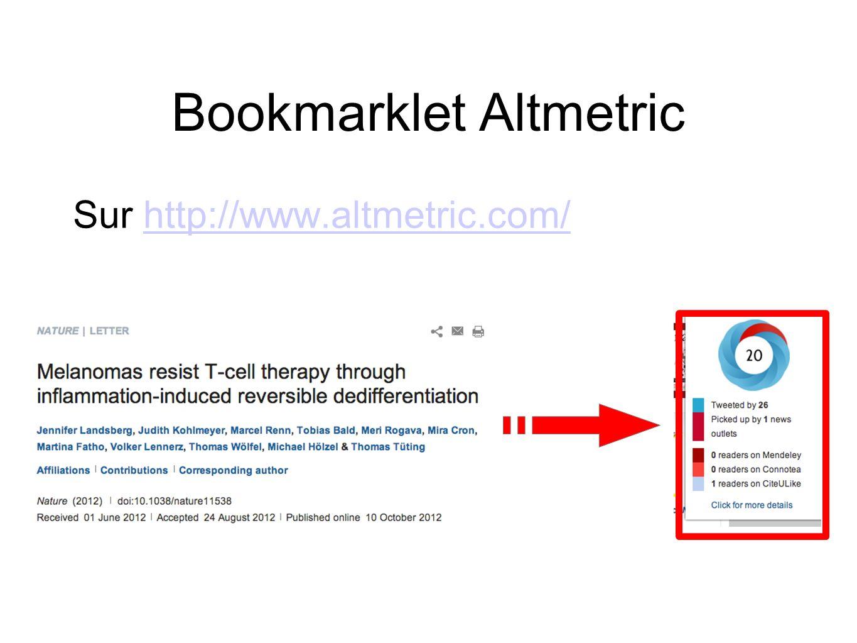 Bookmarklet Altmetric Sur http://www.altmetric.com/http://www.altmetric.com/