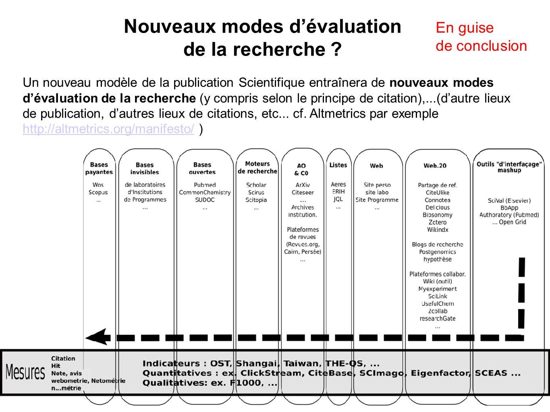 Un nouveau modèle de la publication Scientifique entraînera de nouveaux modes dévaluation de la recherche (y compris selon le principe de citation),..