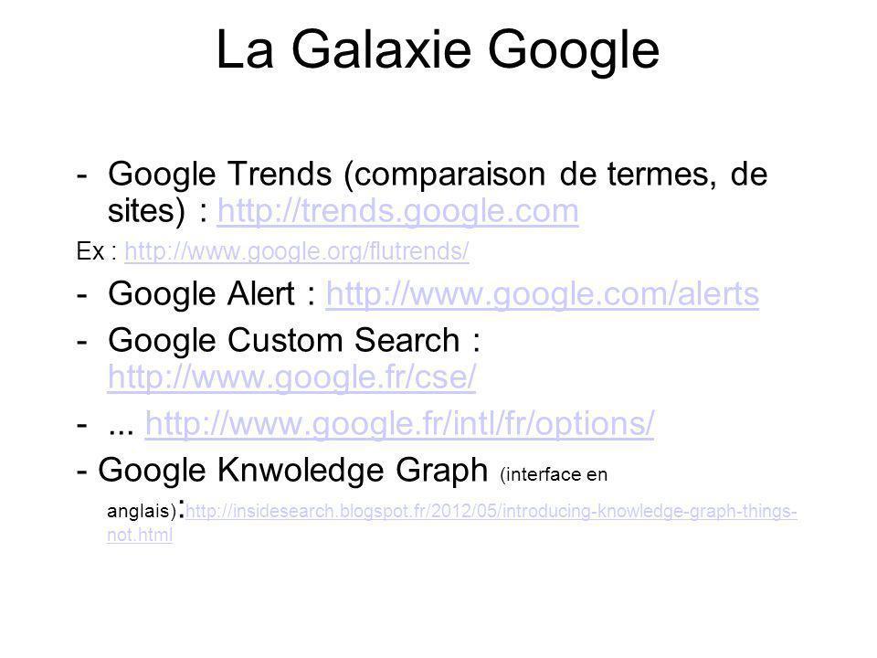 La Galaxie Google -Google Trends (comparaison de termes, de sites) : http://trends.google.comhttp://trends.google.com Ex : http://www.google.org/flutr