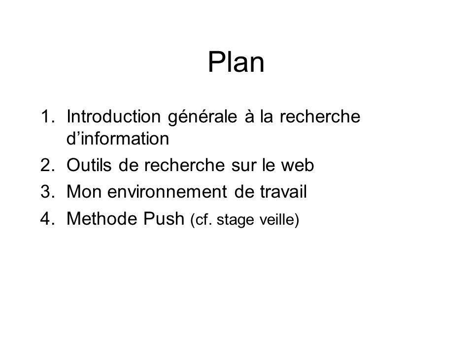 Plan 1.Introduction générale à la recherche dinformation 2.Outils de recherche sur le web 3.Mon environnement de travail 4.Methode Push (cf. stage vei