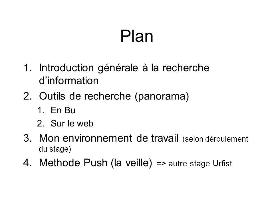 Plan 1.Introduction générale à la recherche dinformation 2.Outils de recherche (panorama) 1.En Bu 2.Sur le web 3.Mon environnement de travail (selon déroulement du stage) 4.Methode Push (la veille) => autre stage Urfist