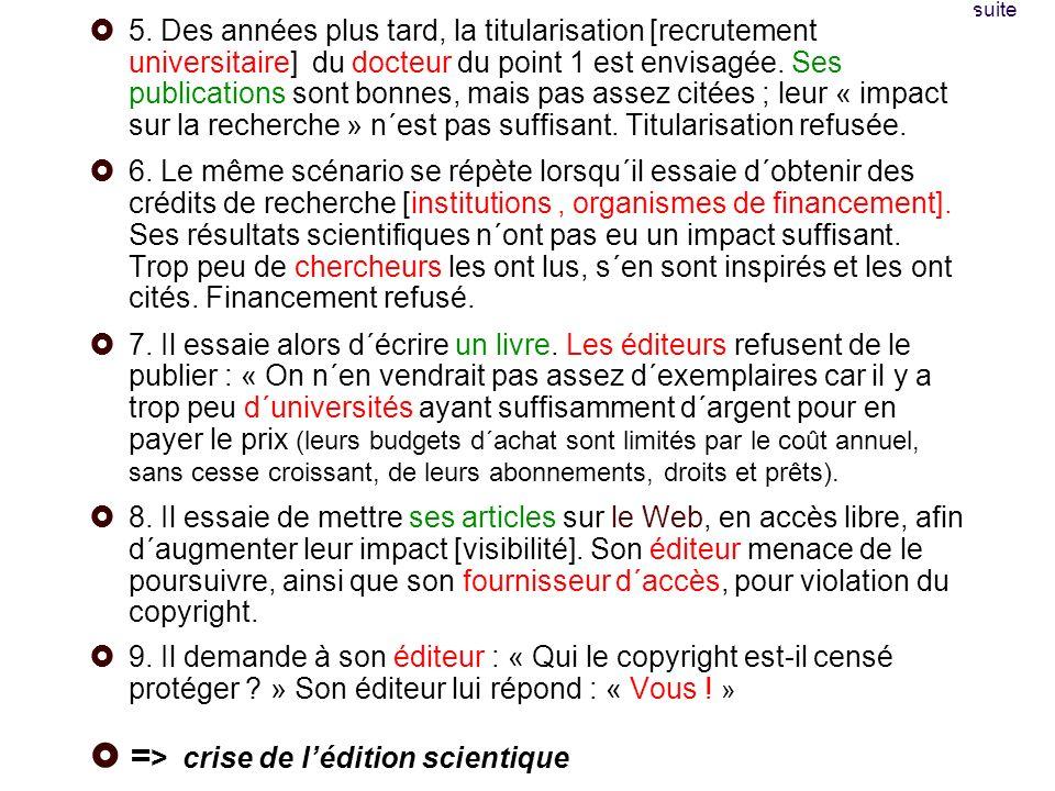 Pour suivre linfo Le blog de Peter Suber (english): http://www.earlham.edu/~peters/fos/fosblog.html http://www.earlham.edu/~peters/fos/fosblog.html site du Libre Accès à lIST (french) : http://openaccess.inist.fr/ http://openaccess.inist.fr/ un site, Digital Scholarship, http://www.digital- scholarship.org/http://www.digital- scholarship.org/ Une liste, AMERICAN-SCIENTIST-OPEN- ACCESS-FORUM, http://listserver.sigmaxi.org/sc/wa.exe?A0=american-scientist-open- access-forum&D=1&F=l http://listserver.sigmaxi.org/sc/wa.exe?A0=american-scientist-open- access-forum&D=1&F=l
