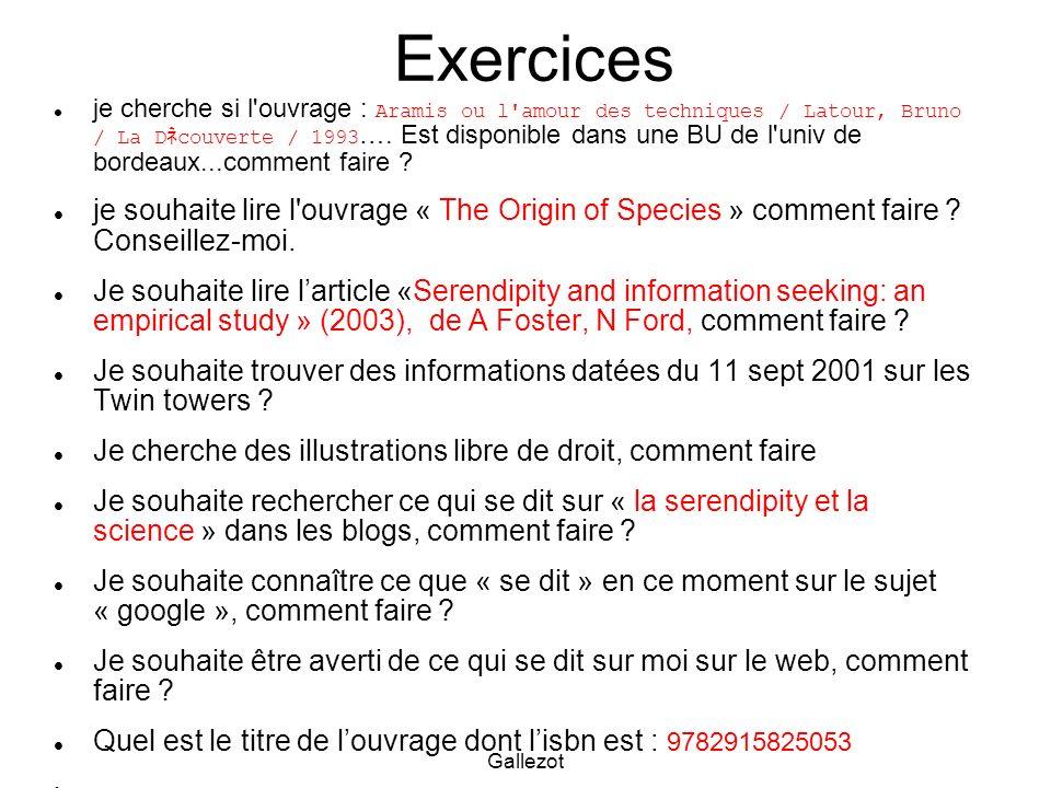 Gallezot Exercices je cherche si l'ouvrage : Aramis ou l'amour des techniques / Latour, Bruno / La D couverte / 1993 …. Est disponible dans une BU de
