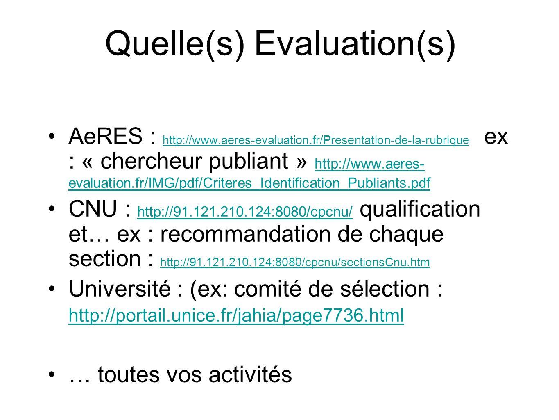 Quelle(s) Evaluation(s) AeRES : http://www.aeres-evaluation.fr/Presentation-de-la-rubrique ex : « chercheur publiant » http://www.aeres- evaluation.fr