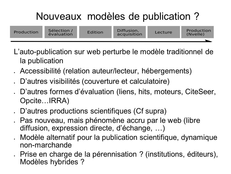 Nouveaux modèles de publication ? Lauto-publication sur web perturbe le modèle traditionnel de la publication Accessibilité (relation auteur/lecteur,