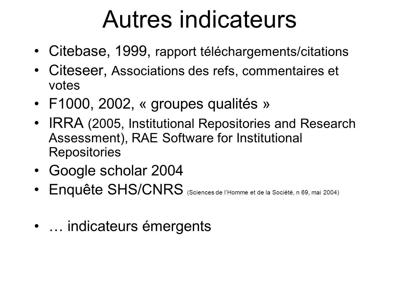 Autres indicateurs Citebase, 1999, rapport téléchargements/citations Citeseer, Associations des refs, commentaires et votes F1000, 2002, « groupes qua