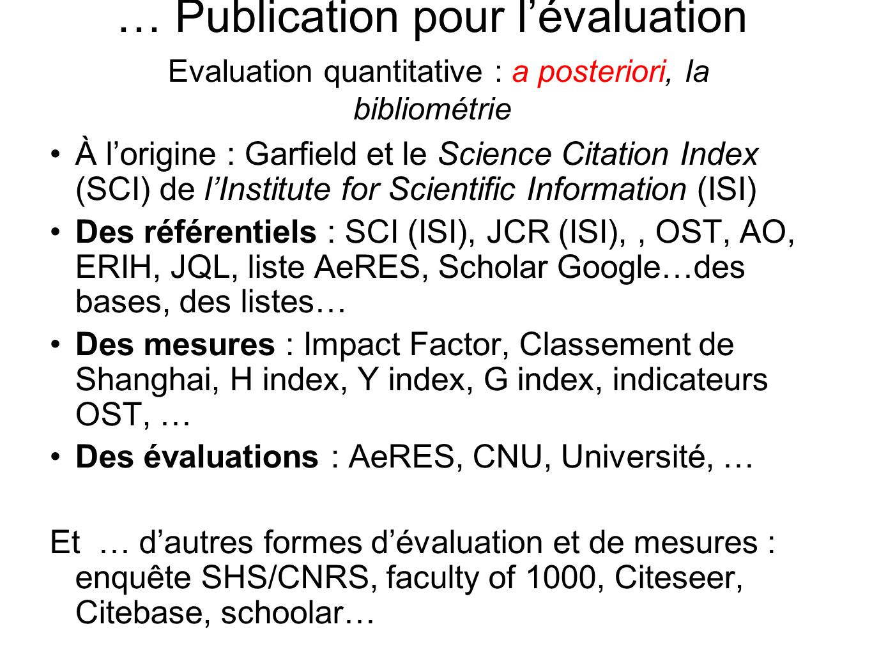 … Publication pour lévaluation Evaluation quantitative : a posteriori, la bibliométrie À lorigine : Garfield et le Science Citation Index (SCI) de lIn