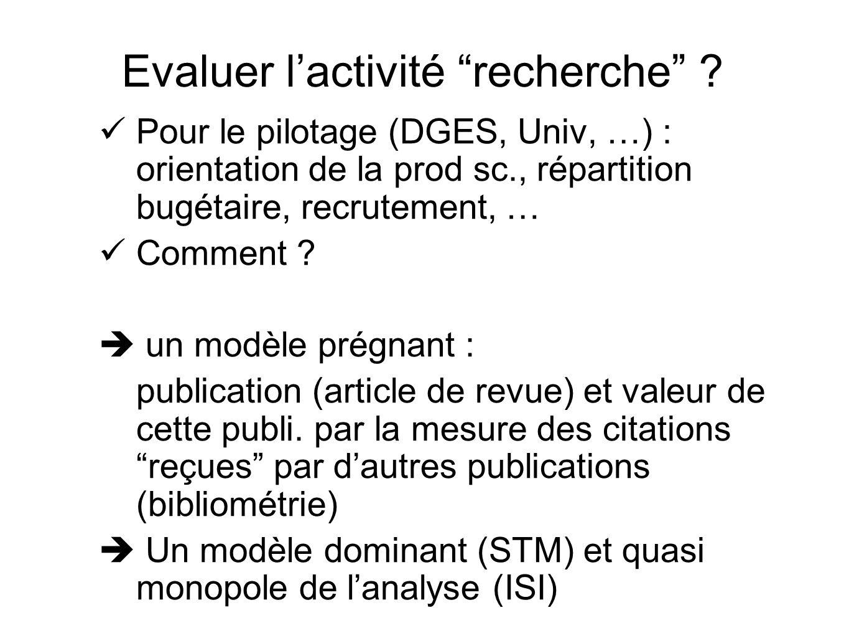 Pour le pilotage (DGES, Univ, …) : orientation de la prod sc., répartition bugétaire, recrutement, … Comment ? un modèle prégnant : publication (artic