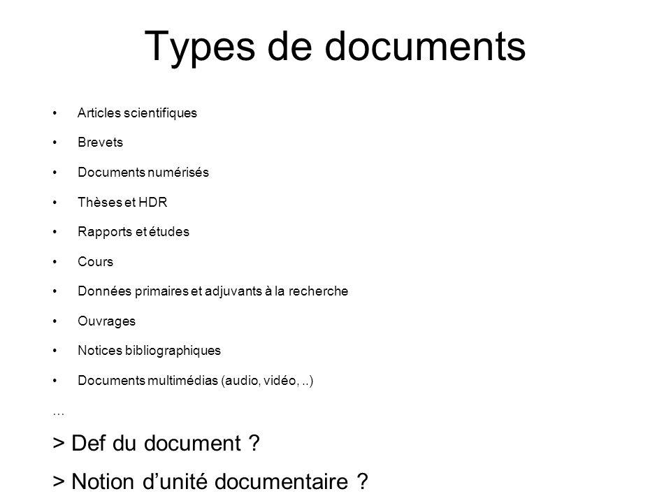 Types de documents Articles scientifiques Brevets Documents numérisés Thèses et HDR Rapports et études Cours Données primaires et adjuvants à la reche