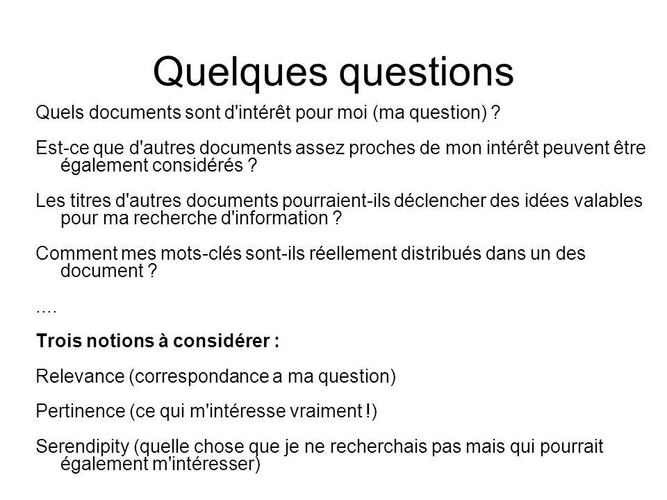 Quelques questions Quels documents sont d'intérêt pour moi (ma question) ? Est-ce que d'autres documents assez proches de mon intérêt peuvent être éga
