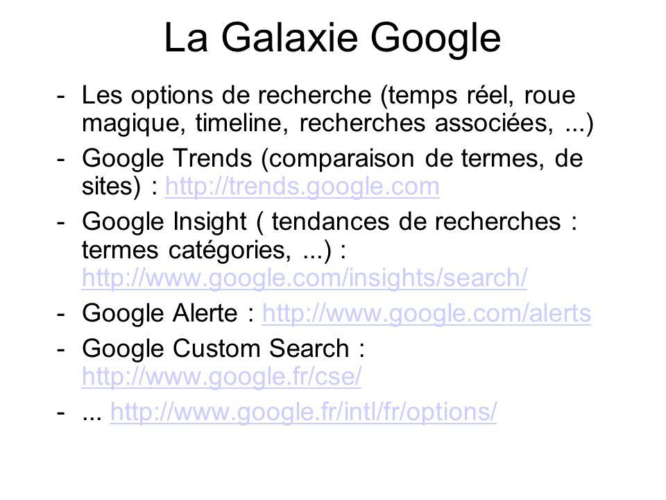 La Galaxie Google -Les options de recherche (temps réel, roue magique, timeline, recherches associées,...) -Google Trends (comparaison de termes, de s