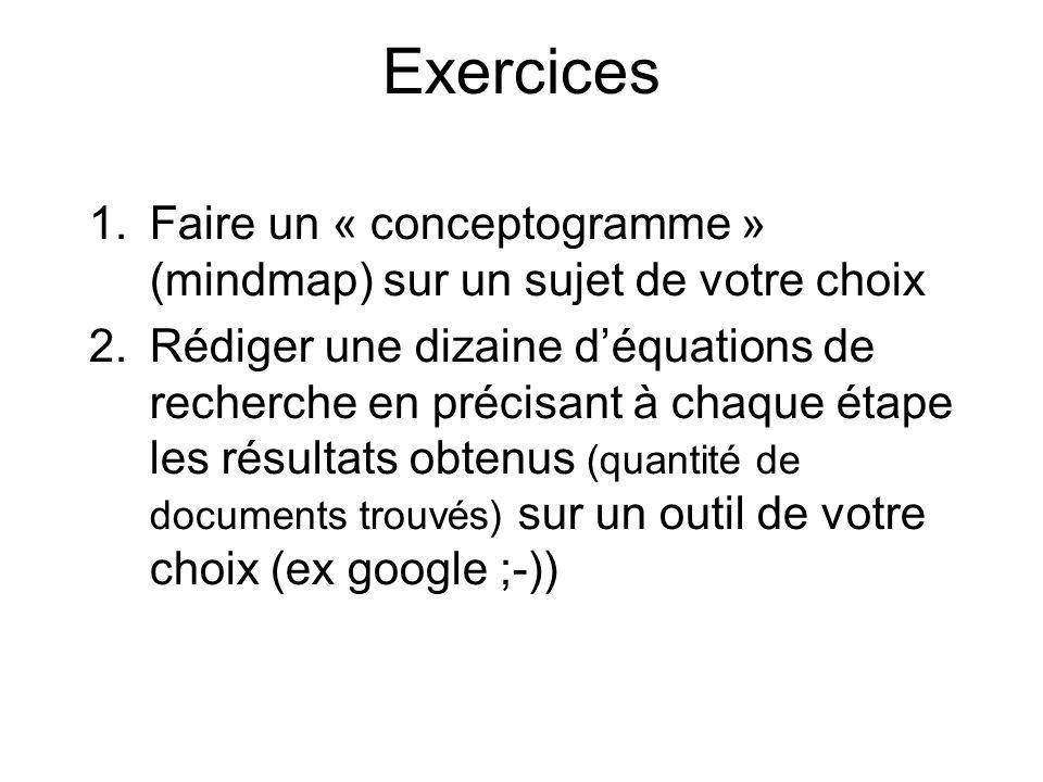 Exercices 1.Faire un « conceptogramme » (mindmap) sur un sujet de votre choix 2.Rédiger une dizaine déquations de recherche en précisant à chaque étap