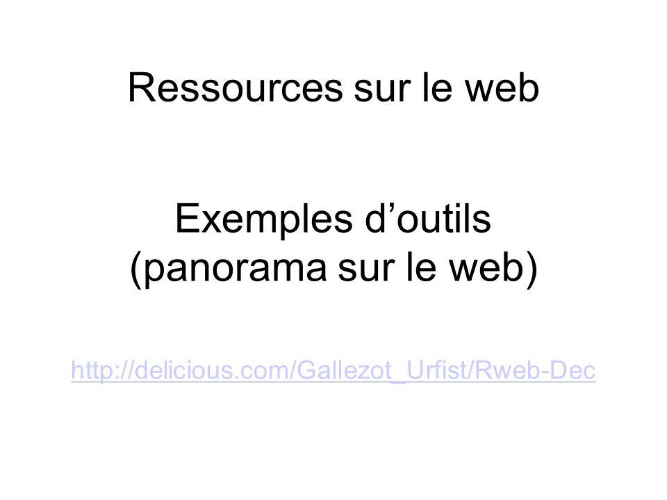 Ressources sur le web Exemples doutils (panorama sur le web) http://delicious.com/Gallezot_Urfist/Rweb-Dec http://delicious.com/Gallezot_Urfist/Rweb-D