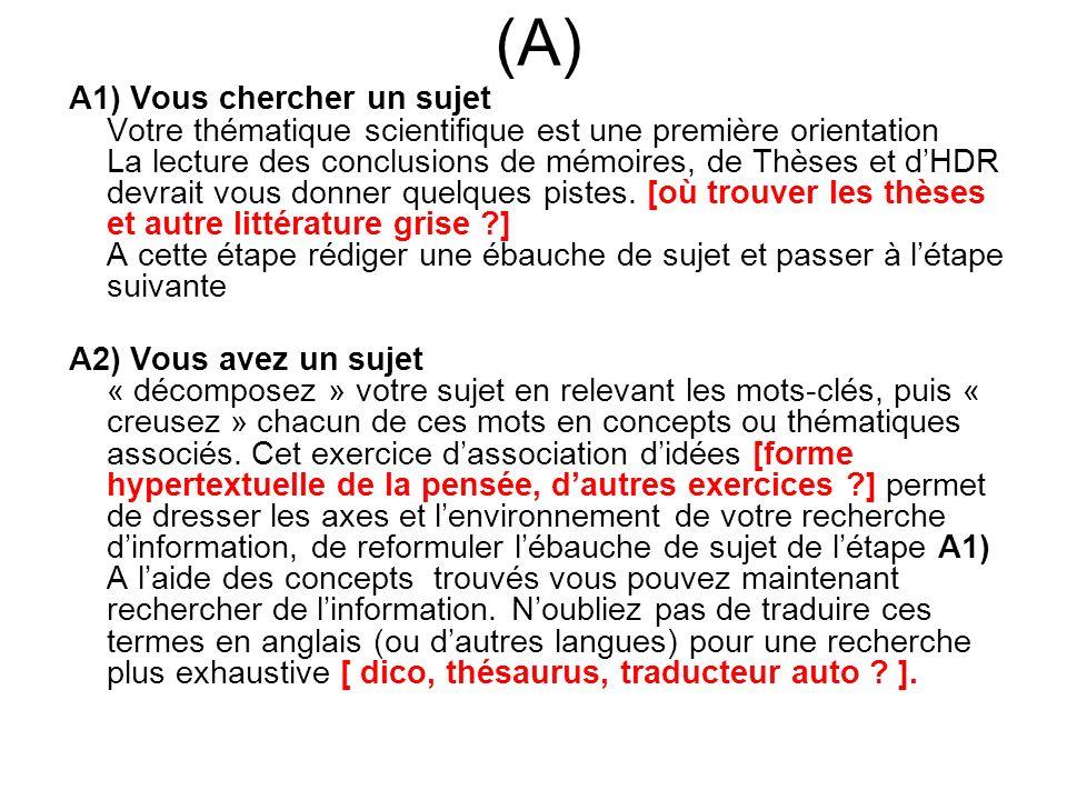 (A) A1) Vous chercher un sujet Votre thématique scientifique est une première orientation La lecture des conclusions de mémoires, de Thèses et dHDR de