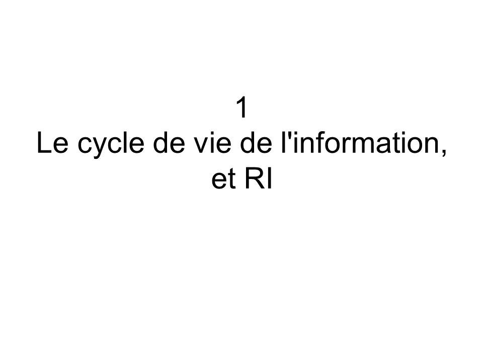 1 Le cycle de vie de l'information, et RI
