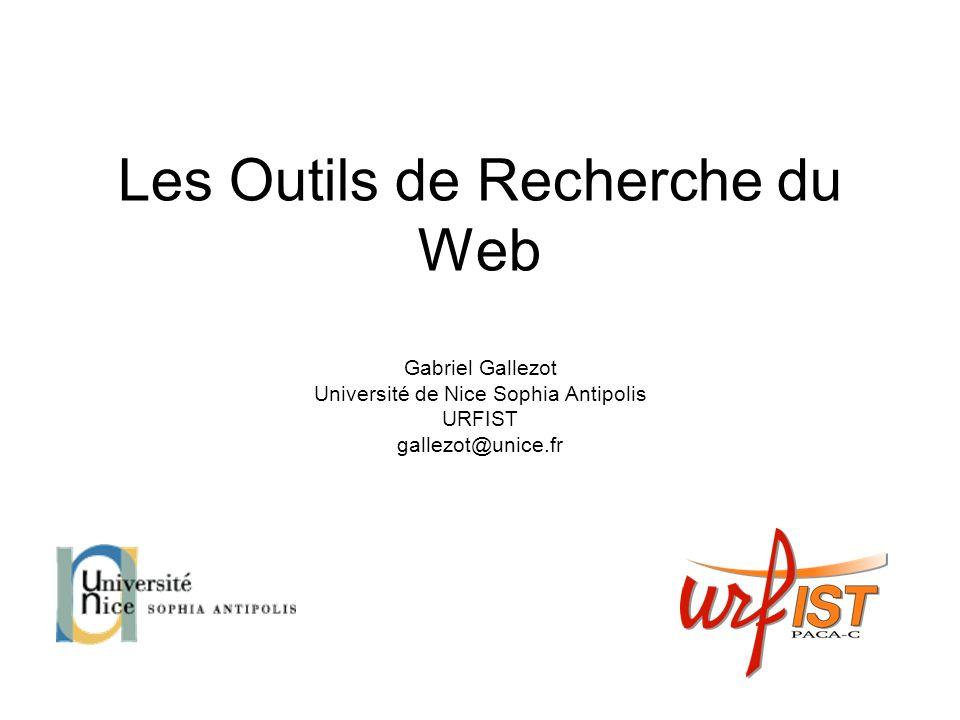 « Verticaux » selon plateforme Choix du « vertical » : http://socialmention.com/ http://socialmention.com/ Selon les droits associés : http://search.creativecommons.org/ http://search.creativecommons.org/ Divers searchtwitter http://search.twitter.com/http://search.twitter.com/ Wayback machine http://www.archive.org/http://www.archive.org/ Voxalead : http://voxaleadnews.labs.exalead.com/ http://voxaleadnews.labs.exalead.com/ Lecdi : http://www.lecdi.net/ Annuaire Open directory project http://www.dmoz.org/http://www.dmoz.org/ Intute : http://www.intute.ac.uk/resources.html http://www.intute.ac.uk/resources.html Autres Moteurs : http://en.wikipedia.org/wiki/List_of_search_engines http://www.altsearchengines.com/http://en.wikipedia.org/wiki/List_of_search_engineshttp://www.altsearchengines.com/ Comprendre la relation entre les moteurs : http://www.search-this.com/search-engine-decoder/http://www.search-this.com/search-engine-decoder/