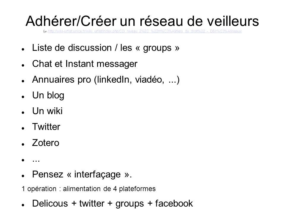 Adhérer/Créer un réseau de veilleurs ( cf : http://wiki-urfist.unice.fr/wiki_urfist/index.php/C2i_niveau_2%2C_%22m%C3%A9tiers_du_droit%22_-_D6/r%C3%A9seauxhttp://wiki-urfist.unice.fr/wiki_urfist/index.php/C2i_niveau_2%2C_%22m%C3%A9tiers_du_droit%22_-_D6/r%C3%A9seaux Liste de discussion / les « groups » Chat et Instant messager Annuaires pro (linkedIn, viadéo,...) Un blog Un wiki Twitter Zotero...