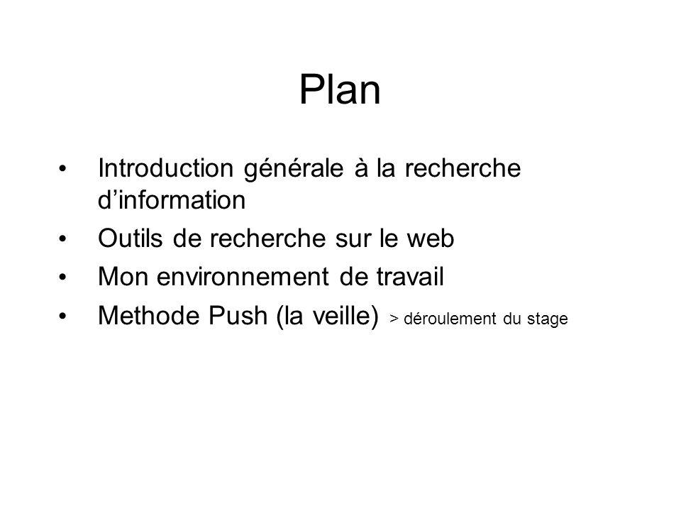 Plan Introduction générale à la recherche dinformation Outils de recherche sur le web Mon environnement de travail Methode Push (la veille) > déroulement du stage