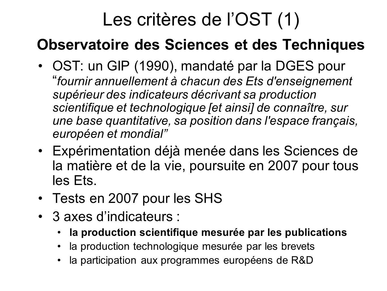 Les critères de lOST (1) Observatoire des Sciences et des Techniques OST: un GIP (1990), mandaté par la DGES pour fournir annuellement à chacun des Et