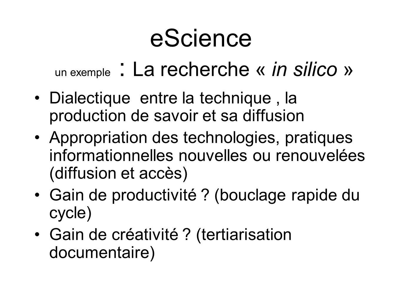 eScience un exemple : La recherche « in silico » Dialectique entre la technique, la production de savoir et sa diffusion Appropriation des technologie