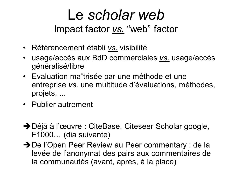 Le scholar web Impact factor vs. web factor Référencement établi vs. visibilité usage/accès aux BdD commerciales vs. usage/accès généralisé/libre Eval