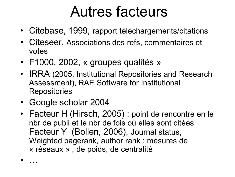 Autres facteurs Citebase, 1999, rapport téléchargements/citations Citeseer, Associations des refs, commentaires et votes F1000, 2002, « groupes qualit