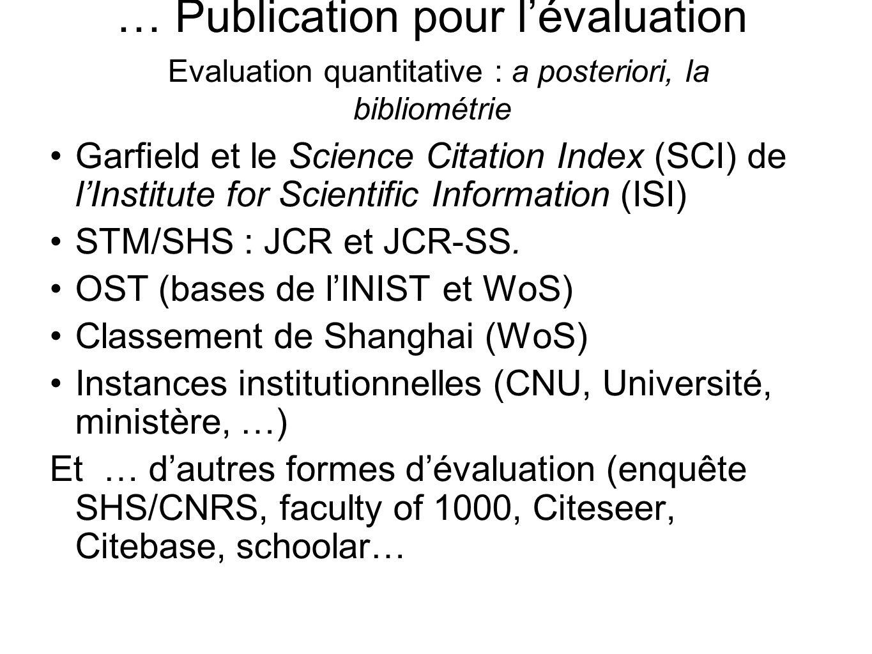 … Publication pour lévaluation Evaluation quantitative : a posteriori, la bibliométrie Garfield et le Science Citation Index (SCI) de lInstitute for S