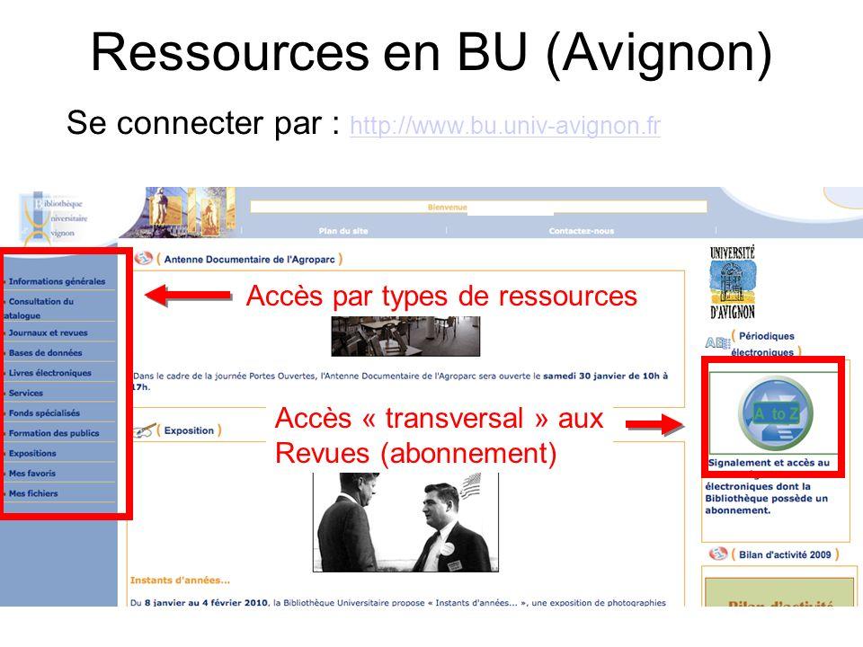 Ressources en BU (Avignon) Se connecter par : http://www.bu.univ-avignon.fr http://www.bu.univ-avignon.fr Accès par types de ressources Accès « transv