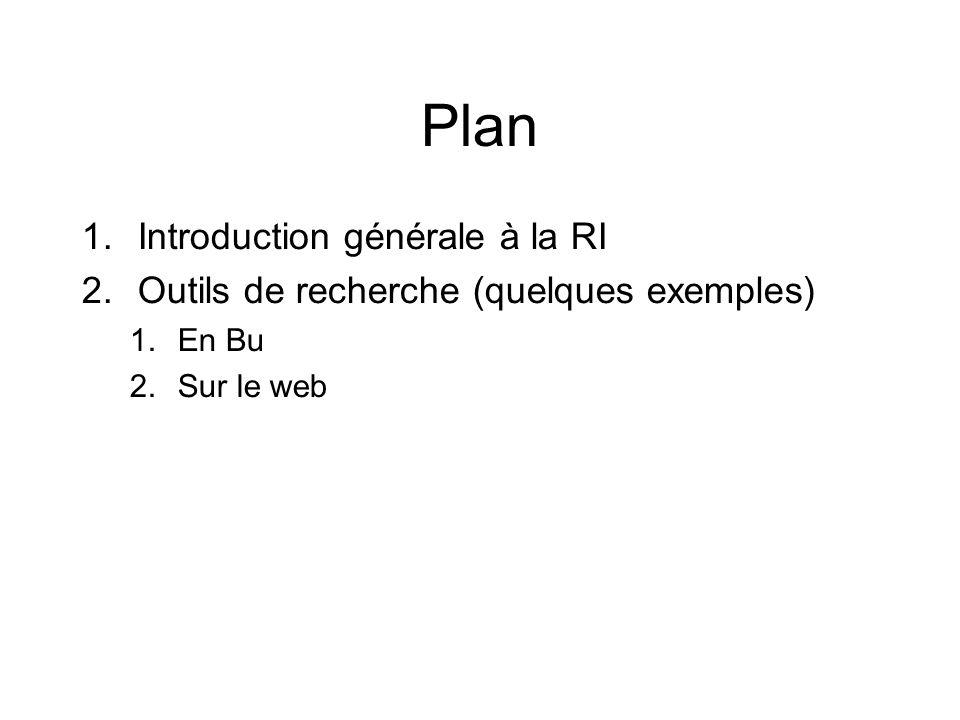 Plan 1.Introduction générale à la RI 2.Outils de recherche (quelques exemples) 1.En Bu 2.Sur le web