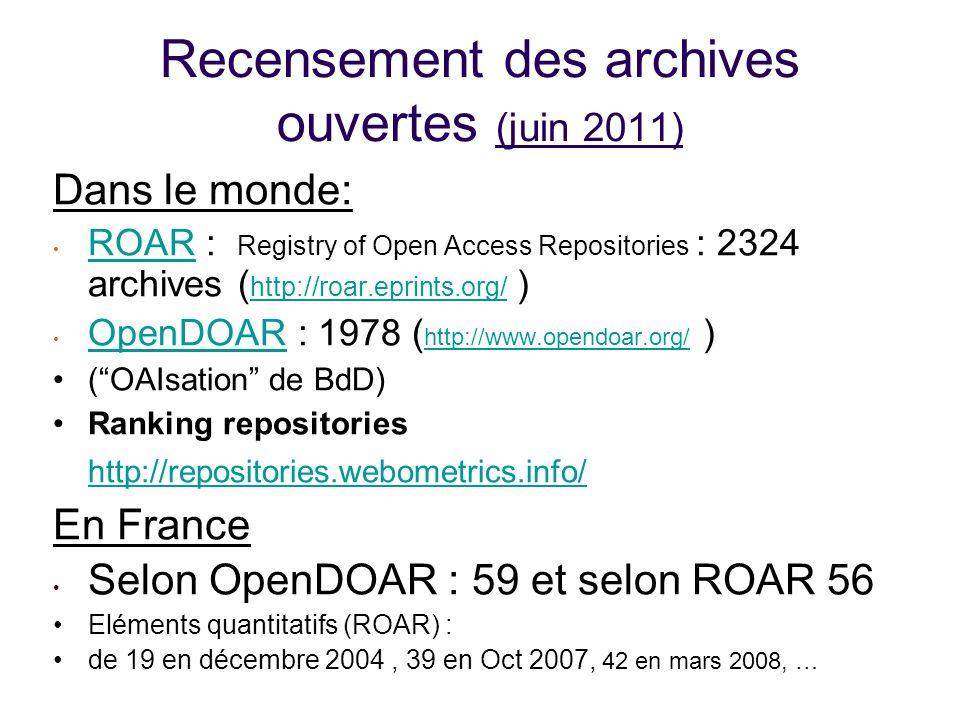 Recensement des archives ouvertes (juin 2011) Dans le monde: ROAR : Registry of Open Access Repositories : 2324 archives ( http://roar.eprints.org/ ) ROAR http://roar.eprints.org/ OpenDOAR : 1978 ( http://www.opendoar.org/ ) OpenDOAR http://www.opendoar.org/ (OAIsation de BdD) Ranking repositories http://repositories.webometrics.info/ http://repositories.webometrics.info/ En France Selon OpenDOAR : 59 et selon ROAR 56 Eléments quantitatifs (ROAR) : de 19 en décembre 2004, 39 en Oct 2007, 42 en mars 2008, …