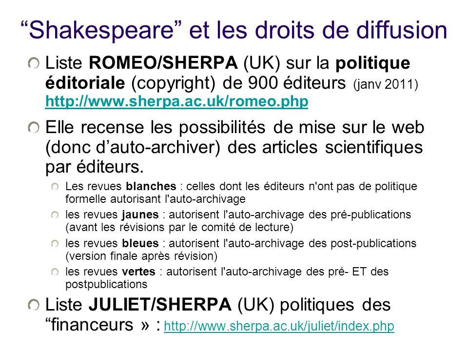 Shakespeare et les droits de diffusion Liste ROMEO/SHERPA (UK) sur la politique éditoriale (copyright) de 900 éditeurs (janv 2011) http://www.sherpa.ac.uk/romeo.php http://www.sherpa.ac.uk/romeo.php Elle recense les possibilités de mise sur le web (donc dauto-archiver) des articles scientifiques par éditeurs.