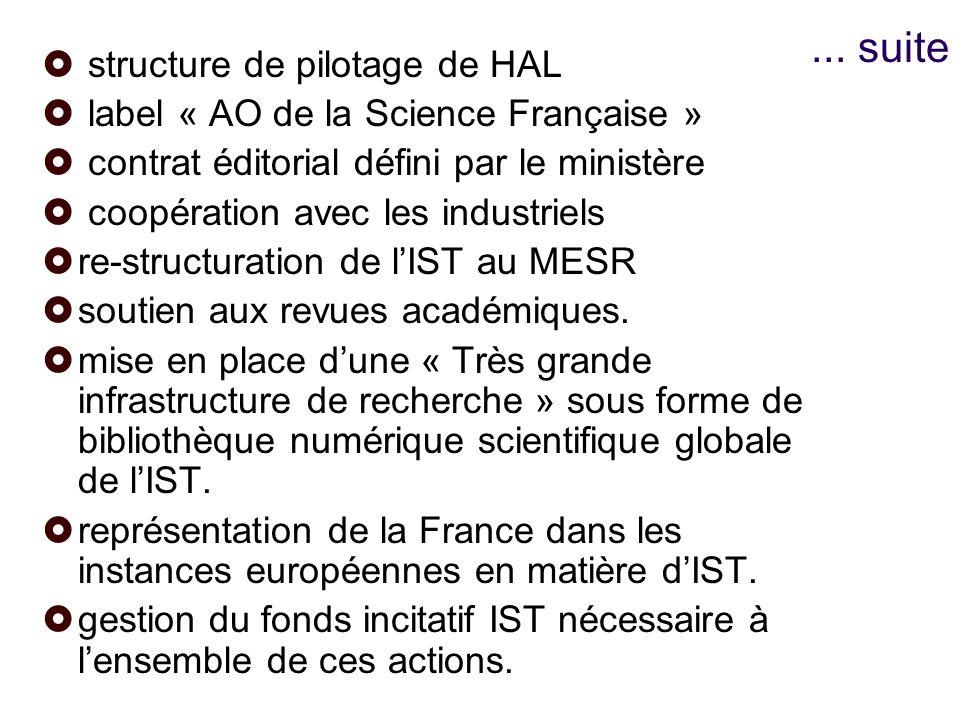 ... suite structure de pilotage de HAL label « AO de la Science Française » contrat éditorial défini par le ministère coopération avec les industriels