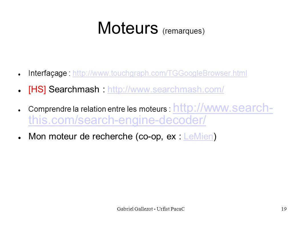 Gabriel Gallezot - Urfist PacaC19 Moteurs (remarques) Interfaçage : http://www.touchgraph.com/TGGoogleBrowser.htmlhttp://www.touchgraph.com/TGGoogleBr