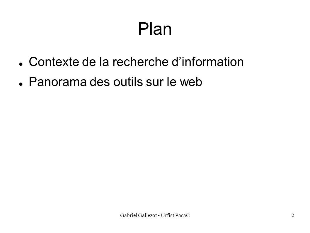 Gabriel Gallezot - Urfist PacaC2 Plan Contexte de la recherche dinformation Panorama des outils sur le web