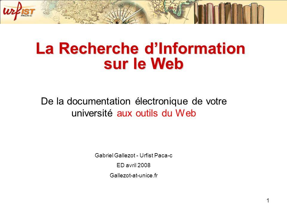 Les répertoires Répertoire critique en SHS http://album.revues.org/http://album.revues.org/ Répertoire de Bases de données en SHS, CALAME : http://calame.ish-lyon.cnrs.fr/ http://calame.ish-lyon.cnrs.fr/ Répertoire de revues Open Access, DOAJ : http://www.doaj.org/ http://www.doaj.org/ Répertoire d Archive Ouverte, OpenDOAR : http://www.opendoar.org/ http://www.opendoar.org/ Répertoire du patrimoine numérique : http://www.numerique.culture.fr/mpf/pub-fr/index.html http://www.numerique.culture.fr/mpf/pub-fr/index.html Répertoire de ressources « academiques » : Bubl, http://bubl.ac.uk/ http://bubl.ac.uk/ Répertoire de BdD gratuites (Dadi) : http://dadi.enssib.fr/http://dadi.enssib.fr/ Répertoire web2.0 : http://www.go2web20.net/ http://www.go2web20.net/ Search engines watch : http://searchenginewatch.com/showPage.html?page=links http://searchenginewatch.com/showPage.html?page=links