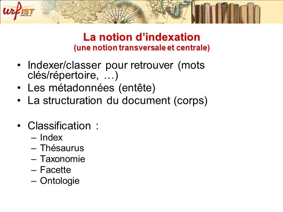 La notion dindexation (une notion transversale et centrale) Indexer/classer pour retrouver (mots clés/répertoire, …) Les métadonnées (entête) La struc