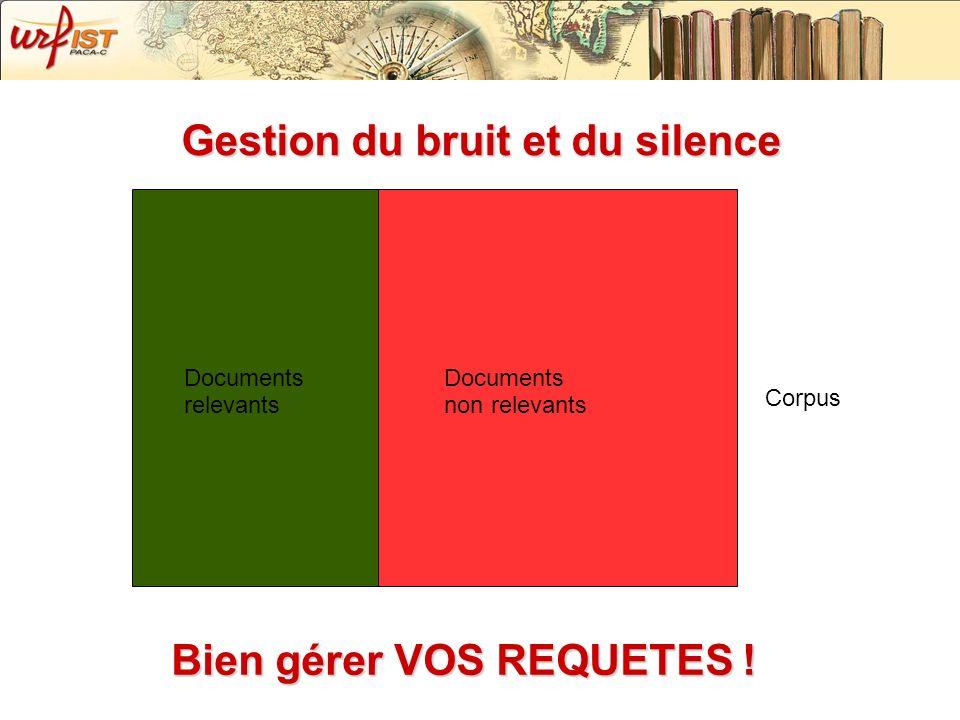 Gestion du bruit et du silence Documents non relevants Documents relevants Corpus Bien gérer VOS REQUETES !