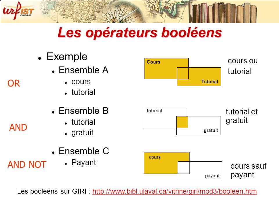 Les opérateurs booléens Exemple Ensemble A cours tutorial Ensemble B tutorial gratuit Ensemble C Payant Tutorial Cours gratuit tutorial payant Protect