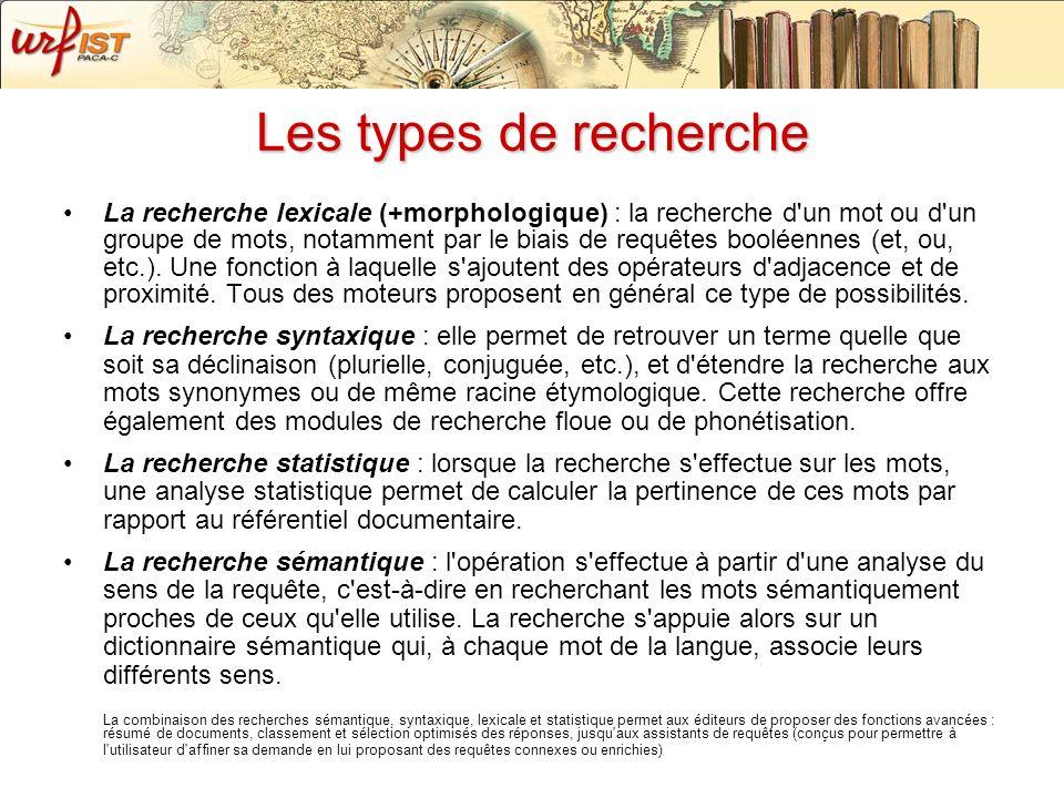 Les types de recherche La recherche lexicale (+morphologique) : la recherche d'un mot ou d'un groupe de mots, notamment par le biais de requêtes boolé